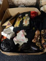 BOX LOT OF ORIENTAL ITEMS TO INCLUDE SILK AND STANDS