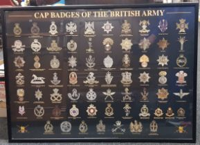 FRAMED POSTER OF THE CAP BADGES OF THE BRITISH ARMY
