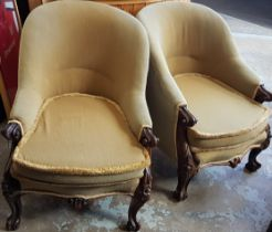 PAIR OF RARE VICTORIAN ORNATELY CARVED, CAB LEGGED ROSEWOOD LIBRARY/CLUB CHAIRS