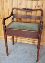 EDWARDIAN INLAID PIANO STOOL WITH LOW BACK & TAPERED LEG AND OPEN SEAT FOR MUSIC