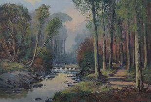 WILLIAM CUNNINGHAM - OIL ON CANVAS - STEPPING STONES, TOLLYMORE PARK FOREST - 14'X20'
