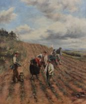 LARGE UNSIGNED OIL ON CANVAS - HARVESTING - 33.5 X 28.5