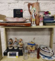 LARGE SHELF LOT OF FIGURES, PLATES, PHOTO FRAMES, DISHES AND EPNS