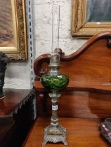 ANTIQUE GREEN GLASS OIL LAMP
