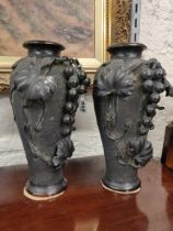PAIR OF ANTIQUE BRONZE VASES SIGNED - HEIGHT 12'