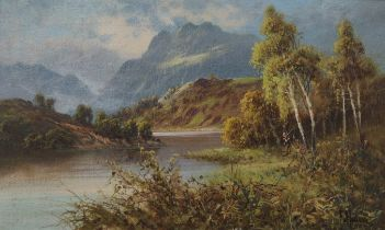 F HIDER - OIL ON CANVAS - AUTUMN IN THE TROSSACHS - 11.5' X 19.5'