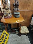 SMALL DROPLEAF TABLE AND FOOTSTOOL