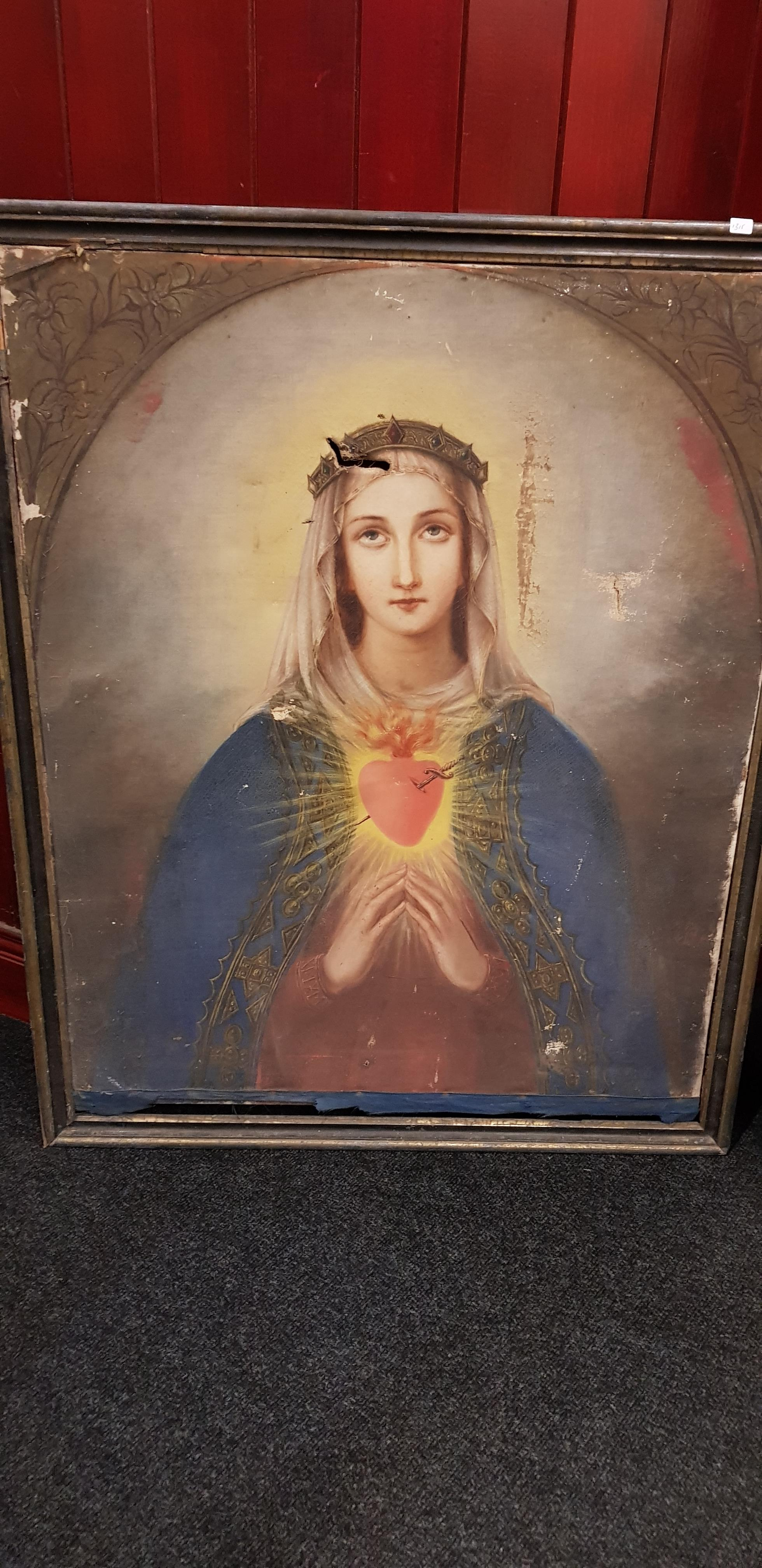 """PAIR OF VERY LARGE OLD MASTER STYLE PAINTINGS OF JESUS AND MARY 37"""" (H) x 29"""" (W) - Image 2 of 5"""