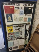 LARGE FRAMED DOCK WORKERS TOOLS AND EPHEMERA