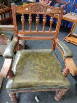 ANTIQUE CHAIR WITH GREEN LEATHER