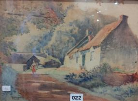 S.S.TOUPE - WATERCOLOUR - COTTAGES ON CARNMONEY HILL - 9.5' X 13'