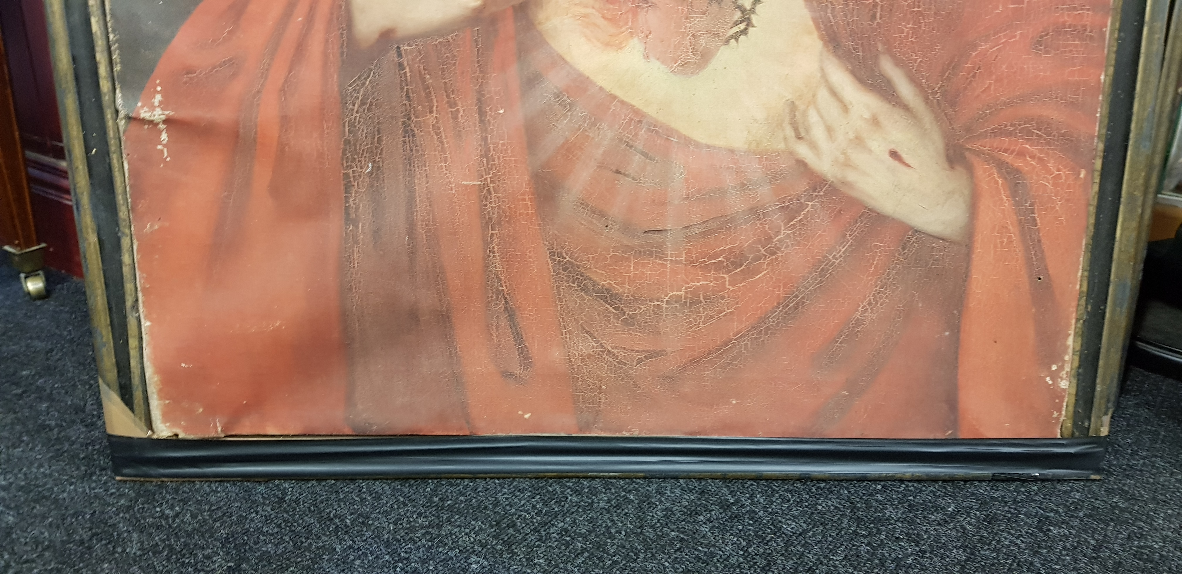 """PAIR OF VERY LARGE OLD MASTER STYLE PAINTINGS OF JESUS AND MARY 37"""" (H) x 29"""" (W) - Image 5 of 5"""