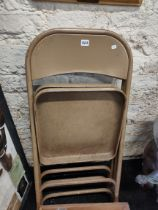 2 ANTIQUE METAL FOLDING CHAIRS