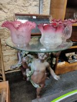 GLASS TOPPED OCCASIONAL TABLE