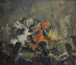 SIGNED OIL ON BOARD - THE GYPSY DANCE 17.5' X 21'