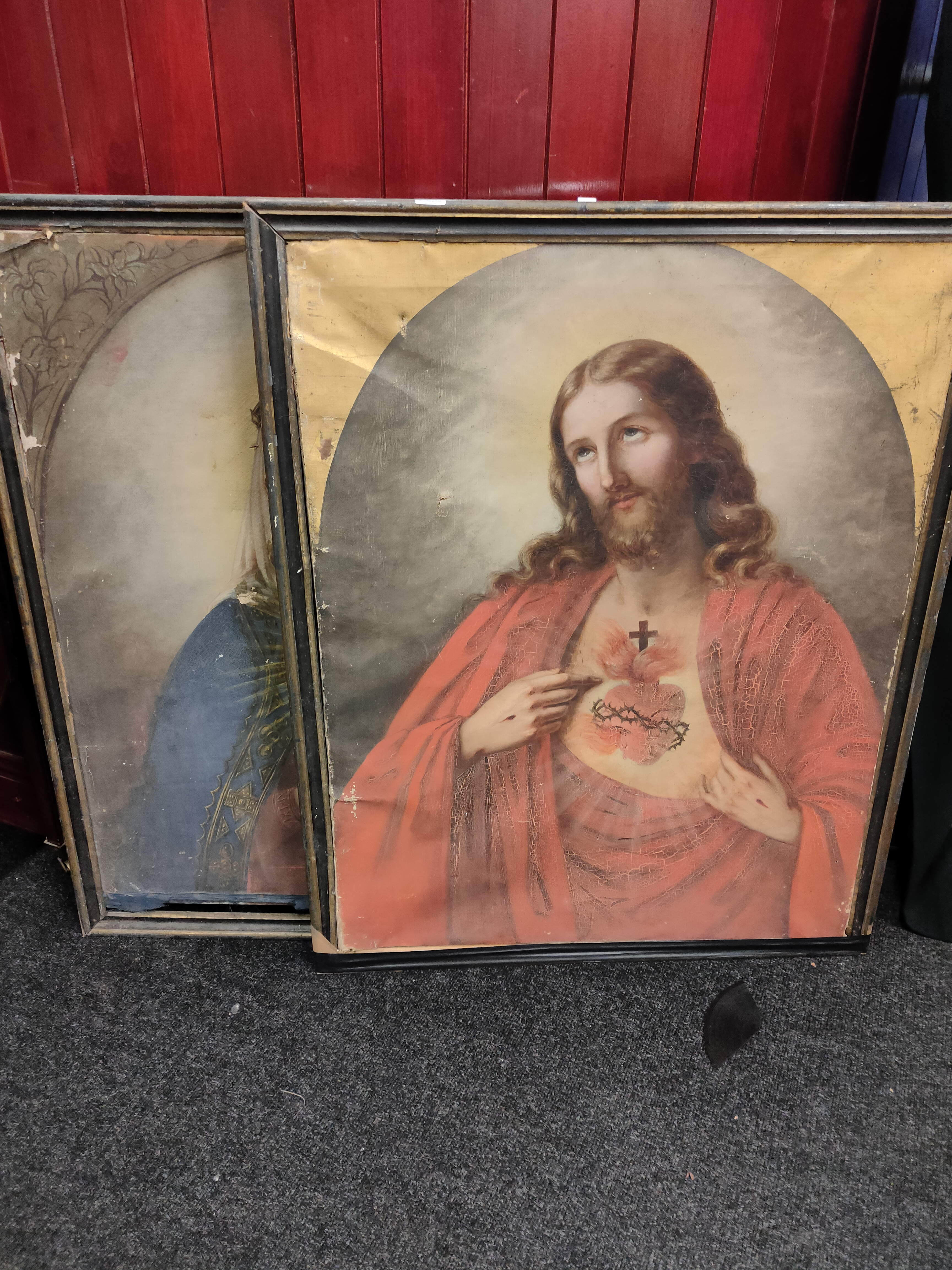 """PAIR OF VERY LARGE OLD MASTER STYLE PAINTINGS OF JESUS AND MARY 37"""" (H) x 29"""" (W)"""