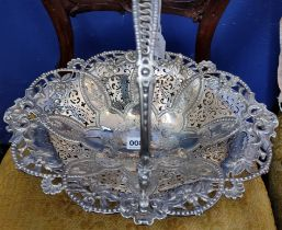 GORGEOUS LARGE VICTORIAN SILVER PLATE BASKET HEAVILY DECORATED WITH EMBOSSED/ENGRAVED FLOWERS AND