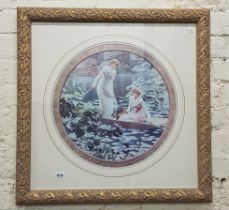 LARGE FRAMED PICTURE 'LADIES ON THE LAKE'