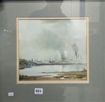 TOM KERR - WATERCOLOUR- BELFAST FROM HOLYWOOD