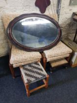 2 FIRESIDE CHAIRS, 2 STOOLS AND MIRROR