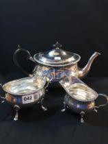 3 PIECE SILVER TEA SERVICE, TEA, SUGAR AND MILK APPROX 1165G LONDON