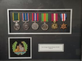FRAMED SET OF WAR MEDALS TO CPL.GEORGE EDWARD MANTON RAME 1946-49