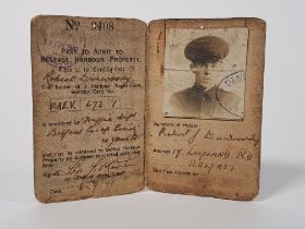 ULSTER SPECIAL CONSTABULARY ID PASS FOR ENTRY TO BELFAST HARBOUR DURING WW2 STAMPED INSPECTOR