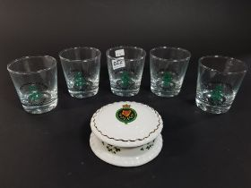 5 ROYAL ULSTER CONSTABULARY GLASS - TRAINING CENTRE ENNISKILLEN AND RUC PIN DISH A/F