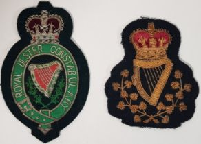 QC ROYAL ULSTER CONSTABULARY HEAD CONSTABLES PATCH AND BLAZED BADGE