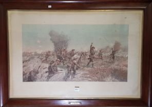 LARGE FRAMED ANTIQUE PRINT 36TH ULSTER DIVISION AT THIEPVAL 1ST JULY 1916 (BATTLE OF THE SOMME)