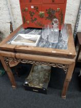 Antique wood and marble oriental table