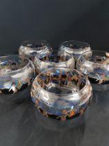 SET OF 6 VETRI D'ARTE FONTANA VEDAR ENAMELLED LEAD GLASS BOWLS CIRCA 1925