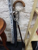Vintage gents umbrella with silver collar and shooting stick