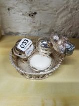 MAPPIN AND WEBB SILVER PLATE CONDIMENT SET. CHICK ON WOVEN BASKET CIRCA 1880