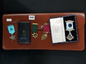 MASONIC APRON AND JEWELS TO INCLUDE SILVER