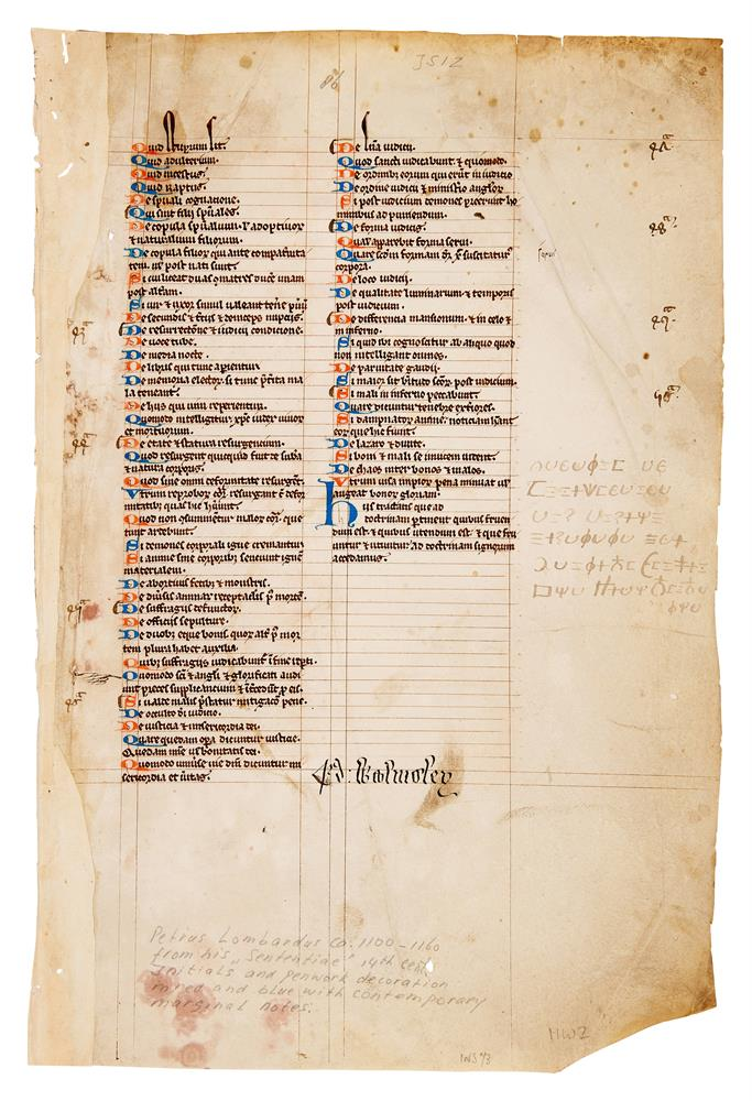 Two leaves from a copy of Peter Lombard, Libri Quattour Sententiarum, in Latin, manuscript on par - Image 3 of 4
