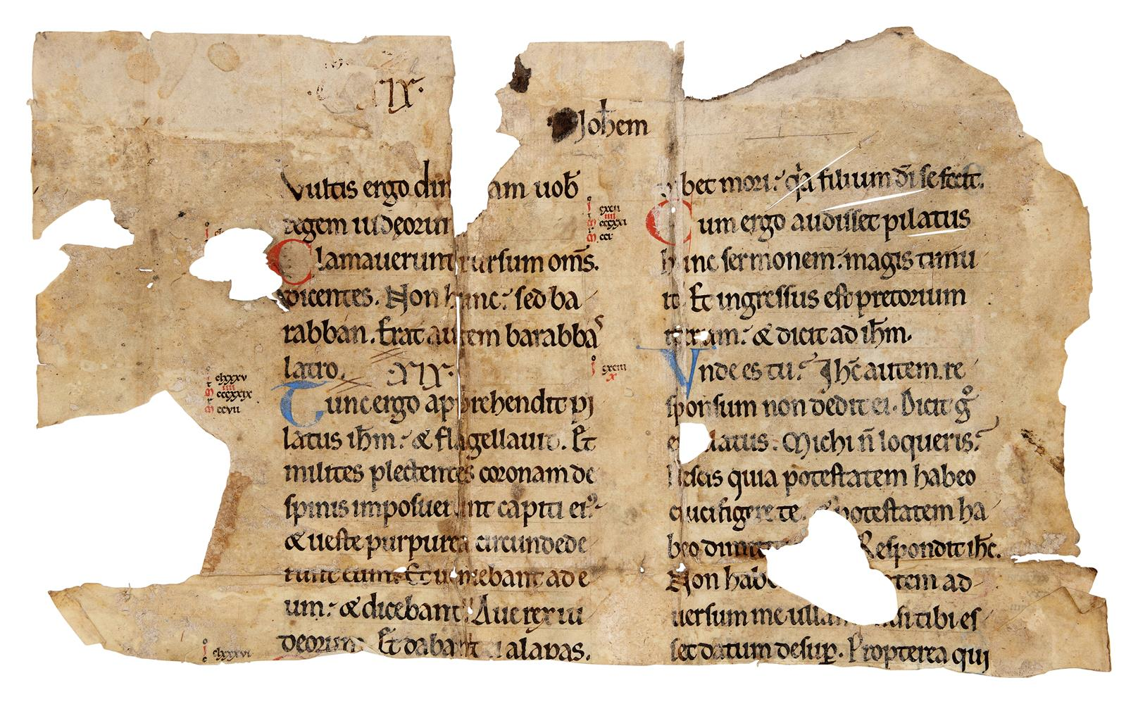Fragment from a leaf from a Bible or Gospel Book, in Latin, decorated manuscript on parchment [Fra