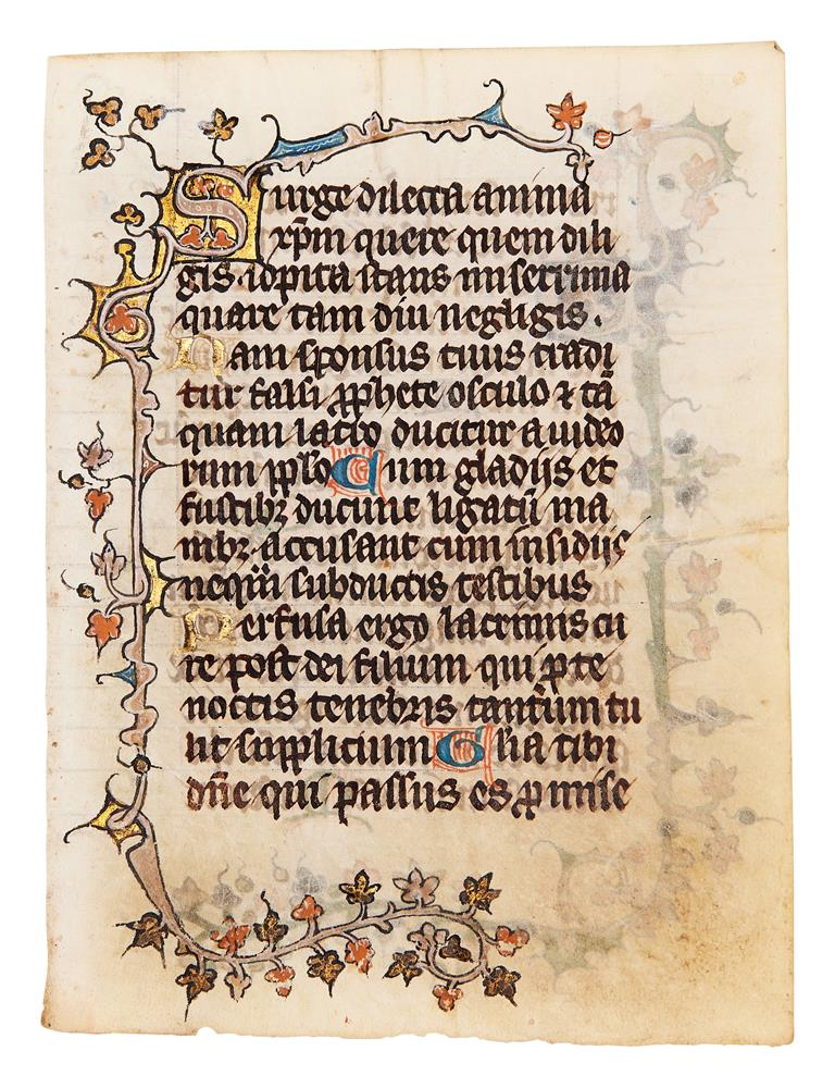Five leaves from an early Book of Hours, of Dominican Use, in Latin, illuminated manuscript on pa - Image 3 of 8