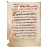 Leaf from a Sacramentary, with a large decorated initial, in Latin, manuscript on parchment [Germ