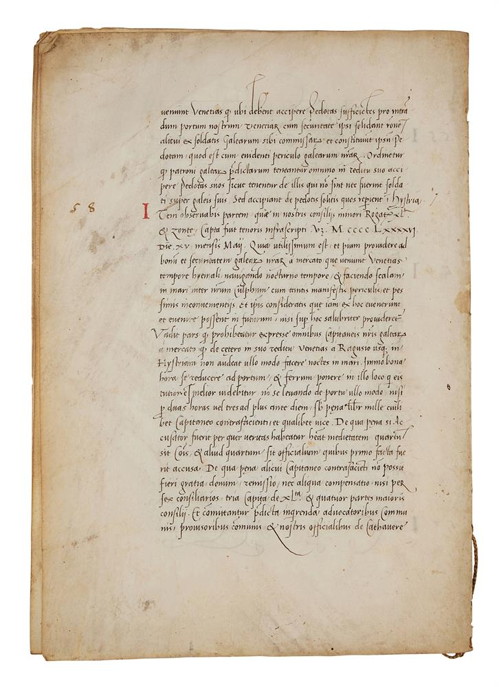 Leaves with the regulations of a mercantile fleet that set sail from Venice on 21 May 1504 for Al - Image 3 of 9