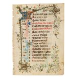 Leaf from a calendar with near-contemporary addition of St. Bridget of Sweden, from a Book of Hou