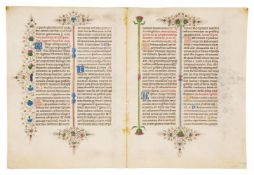 Bifolium from the Llangattock Breviary, in Latin, illuminated manuscript on parchment [Italy (Fer