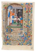 A funeral scene, miniature on a leaf from a Book of Hours, Use of Paris, in Latin, illuminated ma