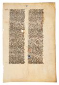 Leaf from Thomas Aquinas, Summa Theologiae, in Latin, decorated manuscript on parchment, with ano