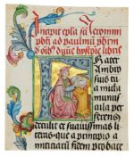 Large initial enclosing St. Jerome writing, on a cutting from a grand Bible, in Latin, manuscript
