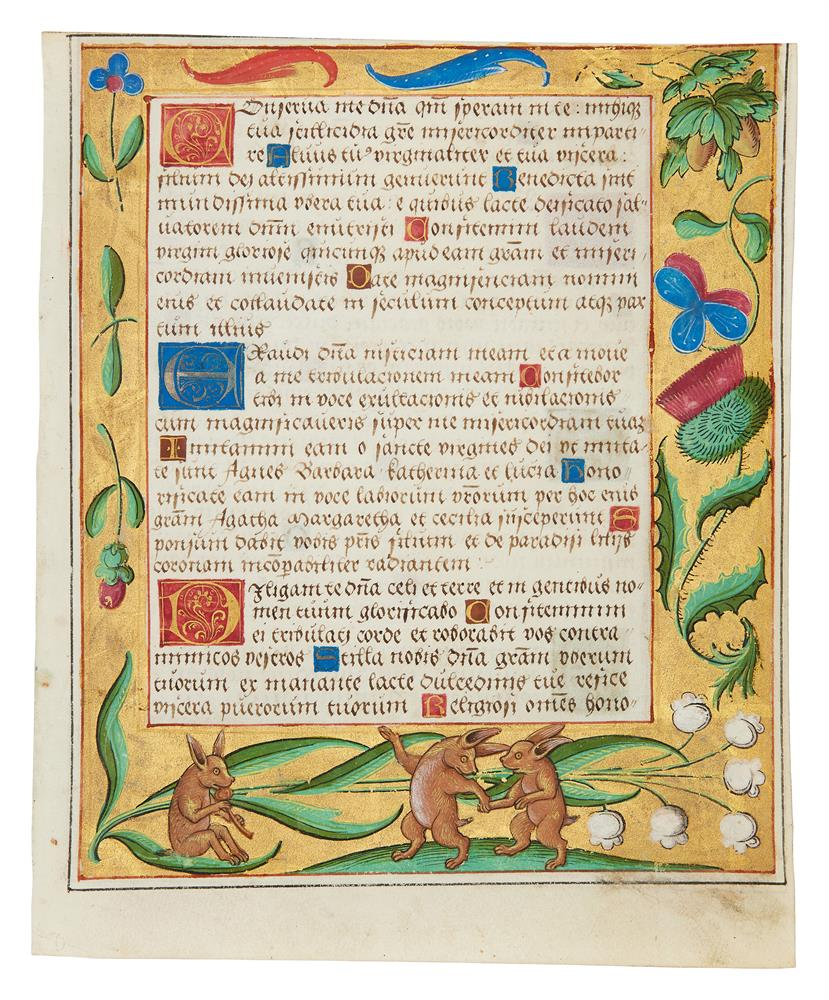 Leaf from a Psalter and Prayerbook, with rabbits playing music and dancing in the margin, in Lati