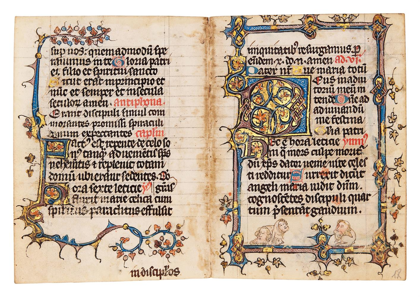 Five leaves from an early Book of Hours, of Dominican Use, in Latin, illuminated manuscript on pa