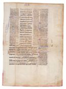 Leaf from a Glossed Gospel of John, of great refinement and with numerous gold initials, in Latin