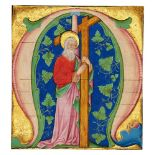 St. Andrew holding his cross, in a large initial on a cutting from a Gradual, illuminated manuscr