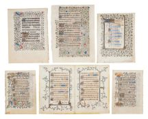 Collection of leaves from early French Books of Hours, in Latin, illuminated manuscripts on parch